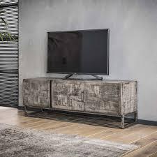 Industrieel Tv Meubel Atlanta 150cmgrijs Mangohoutmetalen Onderstel