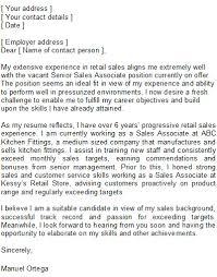Sales Associate Cover Letter Sample Resume Template Info