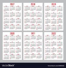 Calander Years Set Of Calendar Grid For Years 2017 2022