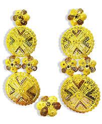 Design Of Ear Ring Golden Plated Circular Design Earring Set