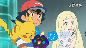 Ash, Lillie, Pikachu, Snowy, and Nebby   Pokémon Sun and Moon