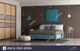 Blau Und Braun Moderne Schlafzimmer Mit Doppelbett Und Schrank 3d