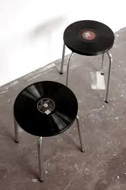 vintage stools made from real vinyl records
