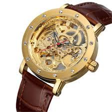 forsining men s gold leather strap bracelet watch transpa automatic mechanical watch skeleton clock men relogio masculino