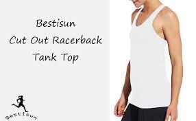 Bestisun Workout Racerback Tank Top Muscle Open Back Shirts Sports Activewear For Gym Women