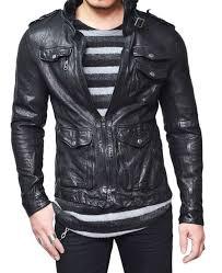 men s wrinkled black lambskin leather jacket