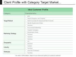 Client Profile Template Client Profile With Category Target Market Strategy And