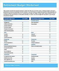 Retirement Budget Worksheet Budgeting Worksheets