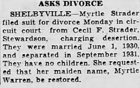 divorce of Cecil Strader and Myrtle Warren - Newspapers.com