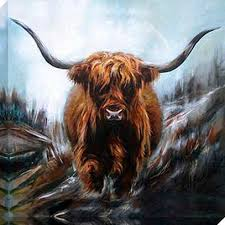 Highland Cow Art canvas prints by Hilary Barker at Mid Torrie Farm  Callander in Scotland. - Highland Cow Art