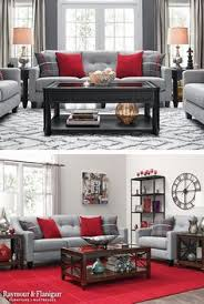Classy red living room ideas exquisite design Couch One Great Way To Decorate With Red Is To Add In Bright Red Accents To Your Space This Living Room Collection Comes With These Fun Throw Pillows Pinterest Love The Grey And Red Living Room Family Room Ideas Pinterest