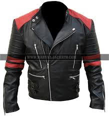 mens brando classsic red and black motorcycle retro biker cowhide leather jacket