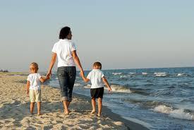 Закаливание организма основные способы Закаливание организма  Мамаа с детьми на берегу моря