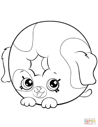 Dolly Donut Dog Shopkin Coloring Page Free Printable Pages