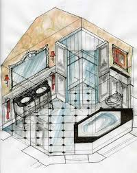 bathroom interior design sketches. Interior Design Sketches By Magdalena Sobula Pe Unique New Beaux Arts Kitchen Bathroom