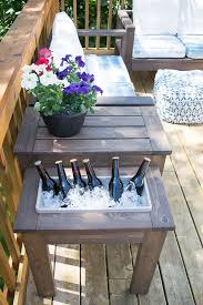 diy outdoor table with cooler. DIY End Table With Built-In Planter Or Ice Bucket | Outdoor Spaces Diy Patio Built-in Drink Cooler C