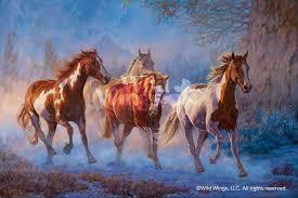twilight run horses original oil painting