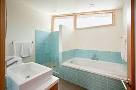 Bathroom  Bathroom Interior Blue Ceramic Tiled Shower Room Beside - Bathrooms plus