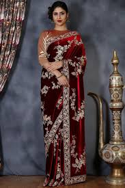 Latest Velvet Saree Designs Buy Maroon Velvet Zari Embroidered Designer Saree Online