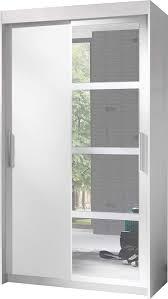 Marke Neues Modernes 2 Tür Schiebetür Kleiderschrank Mit Spiegel Nero Breite 120cm Höhe 216cm Tiefe 60cm Weiß