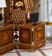 wooden office table. 0038 Antique European Wooden Office Furniture, Luxury Gold Leaf White Ash Burl Table And E