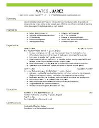 teacher education emphasis resume sample summary highlights