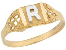 R Letter Ring Designs Details About 10k Or 14k Two Tone Real Gold Design Letter R Initial Band Ring