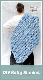 diy knitted baby blanket ohhio becozi arm knitting hand knitting