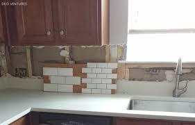 Backsplash Tile For Kitchen Duo Ventures Kitchen Makeover Subway Tile Backsplash Installation