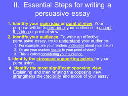 persuasive essay please through the following notes you  essential steps for writing a persuasive essay 1 identify your main idea or