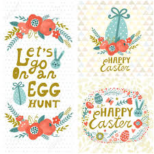 Vintage Easter Set Floral Backgrounds With Bunny Eggs Flowers