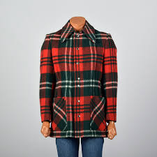 details about m 1970s mens wool coat red green plaid winter snap front patch pockets 70s vtg
