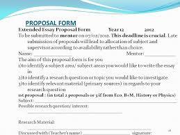 Extended Essay Proposal Rubric Henrico High School IB