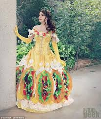 Another Food Related Costume Involved A Woman Dressing Up As Disney  Princess Belle, With