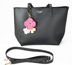 victoria s secret tease flower keychain black faux leather tote bag cute for