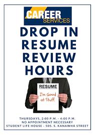 Wvu Tech Drop In Resume Review Hours