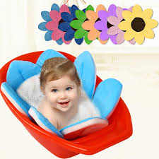 2019 new baby bathtub foldable blooming flower shape mat soft seat infant sink shower baby flower play bath sunflower cushion mat from orchidor