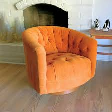 1970 s milo baughman swivel club chair sy mid century modern orange velour tufted barrel back club