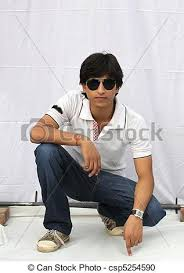 indian male model wearing tshirt and jeans csp5254590