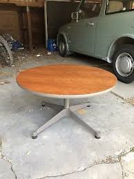 eames herman miller round wood coffee table contract base mid century modern