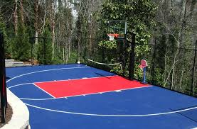 Basketball is a team sport in which two teams of five players score points by shooting (throwing) a ball through an elevated hoop located on either side of the rectangular court. Outdoor Basketball Court Kits Diy Sports Tiles Outdoor Basketball Court