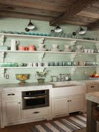 teal subway tile backsplash with large and long open shelves using striped rug for classic kitchen ideas