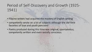 and philippine literature in english 22 period of self discovery