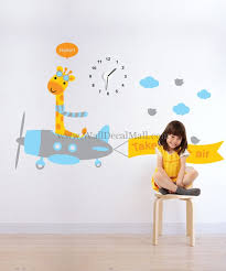 clock of giraffe flier kid wall decals