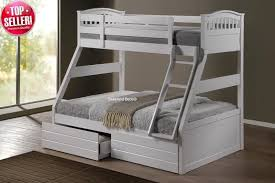 white triple bunk bed drawers and chester mattress