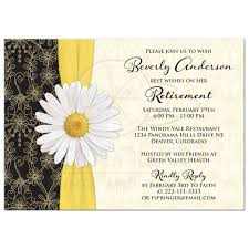 Retirement Invitation Retirement Party Invitation Daisy Black Gold Ivory 1