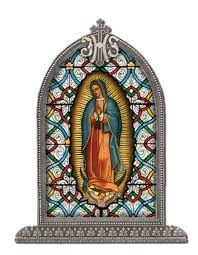 Our Lady of Guadalupe Glass Art in Arched Frame