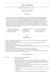 Resume Template For Nurses Amazing Nursing CV Examples And Template
