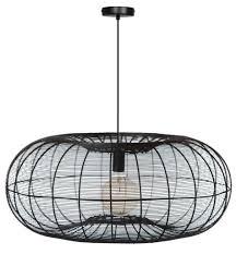 Zwarte Metalen Draad Hanglamp Is De Cosmo Steel In 70 Cm Doorsnede