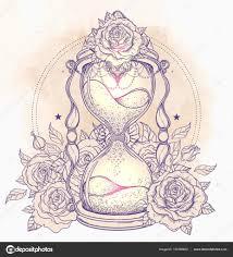 тату песочные часы с розами декоративные античный песочные часы с